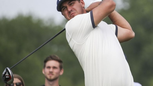 e73f43c2ba Brooks Koepka tees off on the first hole during the first round of the  Byron Nelson golf tournament Thursday, May 9, 2019, at Trinity Forest in  Dallas.