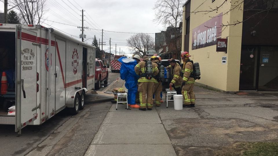 North Bay firefighters don blue hazmat suits
