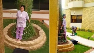 This composite image of two Facebook posts shows Overseas Filipino Worker (OFW) Lovely Acosta Baruelo tied to a tree as punishment by her boss in Riyadh, Saudi Arabia, May 9, 2019. (Facebook/Amer Navodlum)