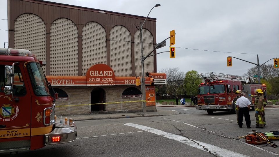 Crews at the scene of a fire at the Grand Hotel in Preston. (May 10, 2019)