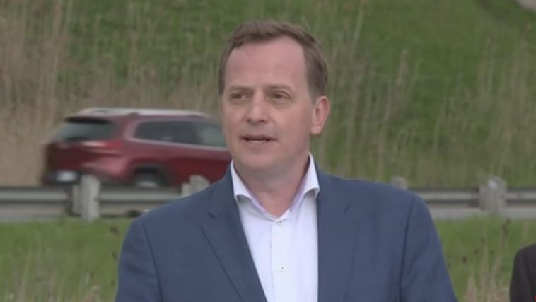 Ontario Transportation Minister Jeff Yurek announces a highway speed limit pilot project near Delaware, Ont. on Friday, May 10, 2019. (Jim Knight / CTV London)