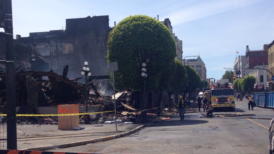 Walls crumbles as crews continued to deal with the aftermath of a destructive blaze at a downtown Victoria hotel Thurs., May 9, 2019. (CTV Vancouver Island)