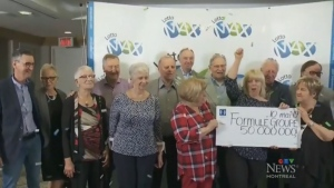One person has yet to claim their share of a $50,000,000 jackpot in Quebec that was split between 20 people, including a group of 11 friends. (CTV Montreal)