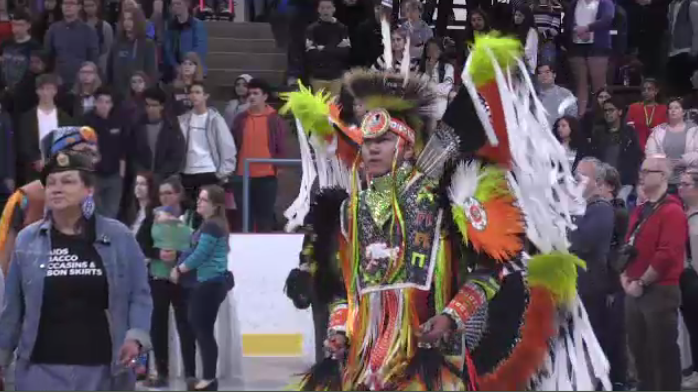Indigenous dancers at a powwow in Kitchener. (May 10, 2019)