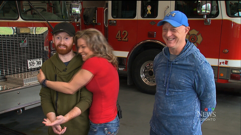Nadine Young meets 18-year-old Jarrett Singer for the first time at a fire station in Ajax on May 10, 2019.