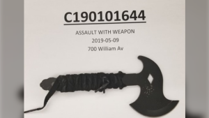 Winnipeg police released a photo of the hatchet used to threaten two paramedics who were transporting him to hospital (Winnipeg Police)