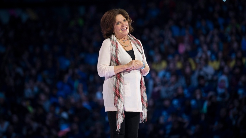 Margaret Trudeau speaks on stage at WE Day on Wednesday, Oct. 19, 2016, in Toronto. (Photo by Arthur Mola/Invision/AP)