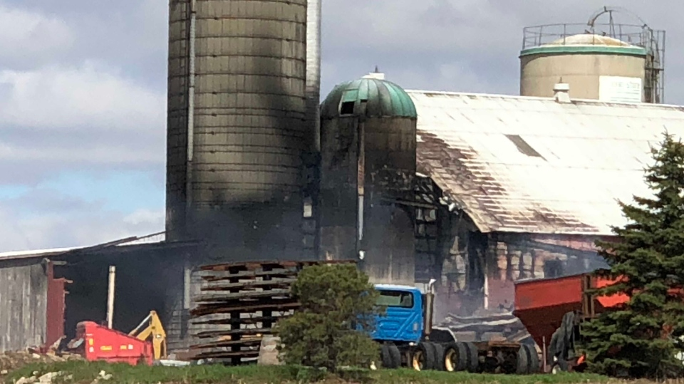 A barn on Wittick Road in Woolwich was badly damaged by fire. (May 11, 2019)
