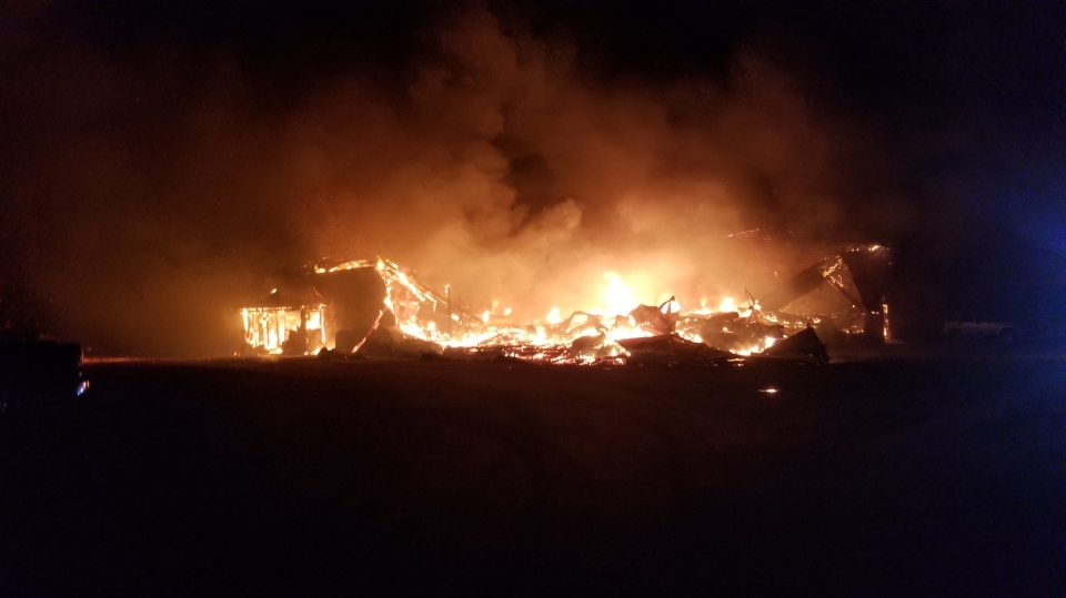 Fire destroys a barn in Woolwich Township. (May 11, 2019)