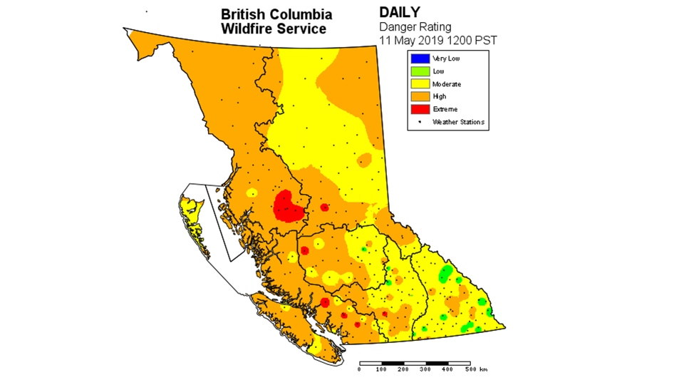 The fire danger rating for May 11, 2019. Courtesy: BC Wildfire Service