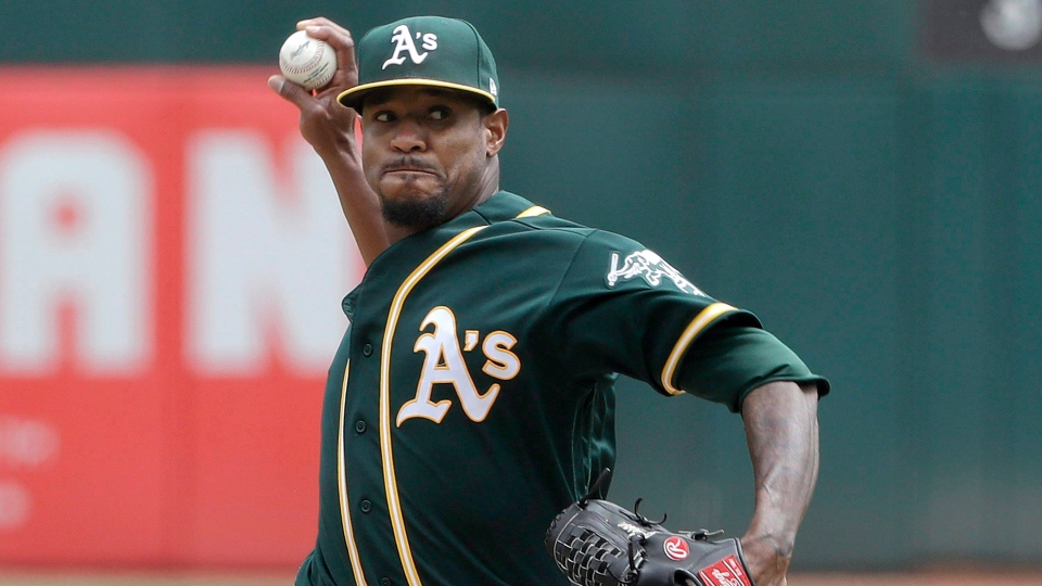 Oakland Athletics pitcher Edwin Jackson throws against the Texas Rangers during the first inning of a baseball game in Oakland, Calif., Wednesday, Aug. 22, 2018. (THE CANADIAN PRESS/AP-Jeff Chiu)