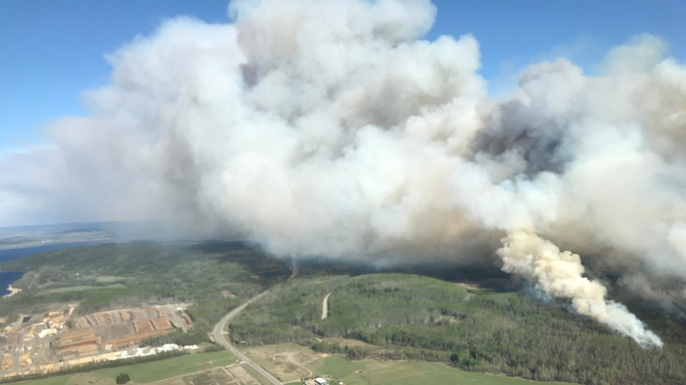 Smoke from a wildfire near Fraser Lake, B.C. can be see in this image. (BC Wildfire Service)