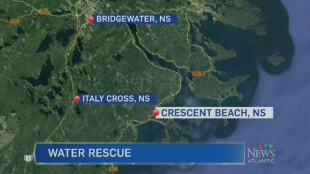 Four people were rescued by a fishing vessel after getting in trouble while boating in Lunenburg County on Saturday afternoon.