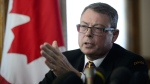Vice Admiral Mark Norman reacts during a press conference in Ottawa on Wednesday, May 8, 2019. The charges against Norman were dropped. THE CANADIAN PRESS/Sean Kilpatrick