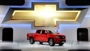 FILE - In this Nov. 21, 2013, file photo the new 2015 Chevrolet Colorado pickup truck is on display at the Los Angeles Auto Show in Los Angeles. The National Highway Traffic Safety Administration is looking into whether GM should recall about 115,000 Chevrolet Colorado and GMC Canyon pickups from the 2015 model year. (AP Photo/Jae C. Hong, File)
