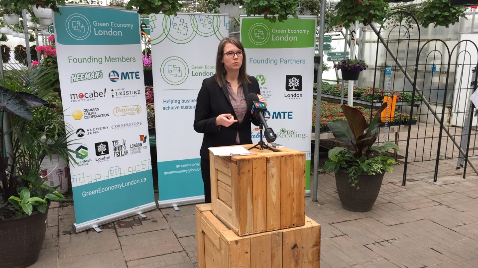 Skylar Franke, executive director of the London Environmental Network, speaks in Thorndale, Ont. on Monday, May 13, 2019. (Bryan Bicknell / CTV London)