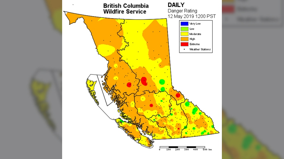 B.C.'s Fire Danger Rating map is shown on May 12, 2019.