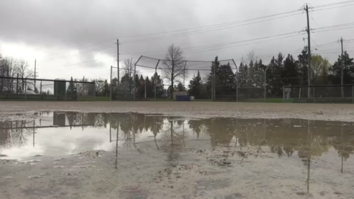 A baseball diamond seen here on Monday, May 13, 2019 after days of rain.