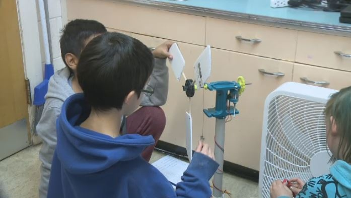 Students learn about the importance of wind turbines
