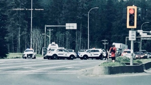 The driver was taken into custody following the pursuit and police said there were already warrants out for his arrest. (X Local - Nanaimo/Facebook)
