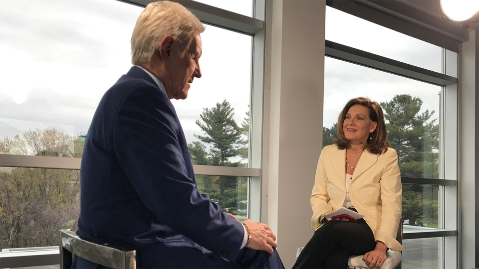 'Jeopardy!' host Alex Trebek sits down with CTV's Chief Anchor Lisa LaFlamme in Ottawa on May 13, 2019. (Photo: Rosa Hwang)