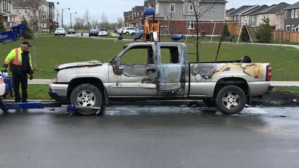 WRPS investigate a suspicious truck fire on Westoak Trail in Kitchener. (Jeff Pickel/CTV Kitchener)