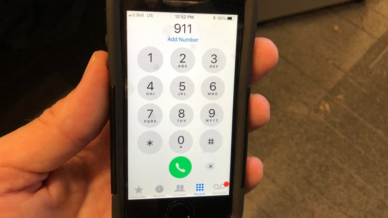 A cell phone about to call 911, Tuesday, May 14, 2019. (Melanie Borrelli / CTV Windsor)