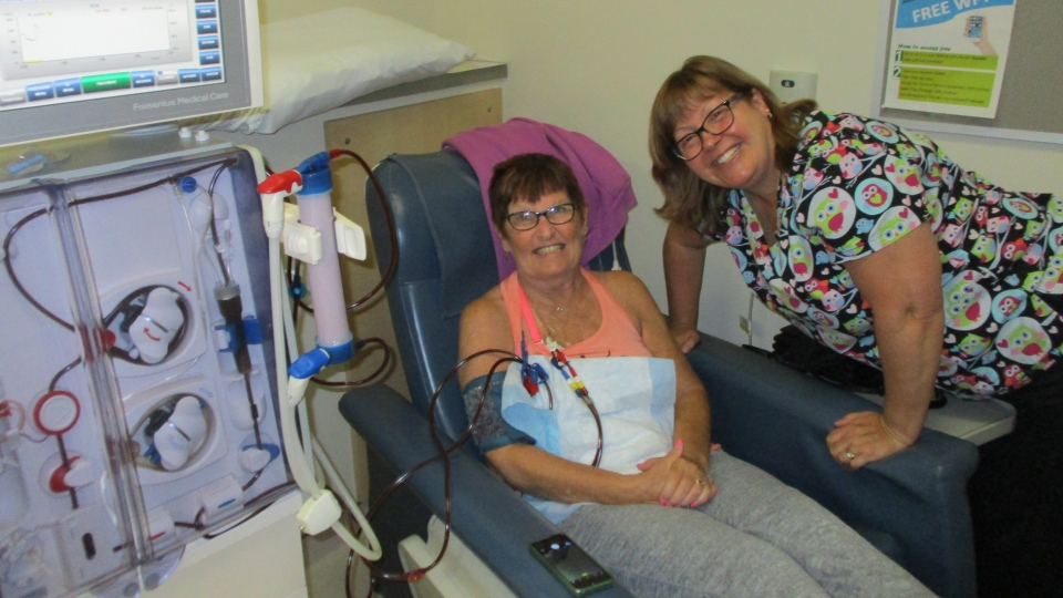 Elaine Hayter, left, takes part in dialysis in this photo she captured for the Renal Community Photo Project.