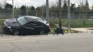 A vehicle after a crash in Guelph. (Tyler Calver / CTV Kitchener)