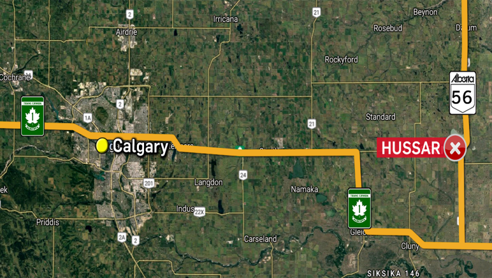 A nine-year-old boy was killed Monday in an accident involving a tractor near Hussar. (Google Maps)