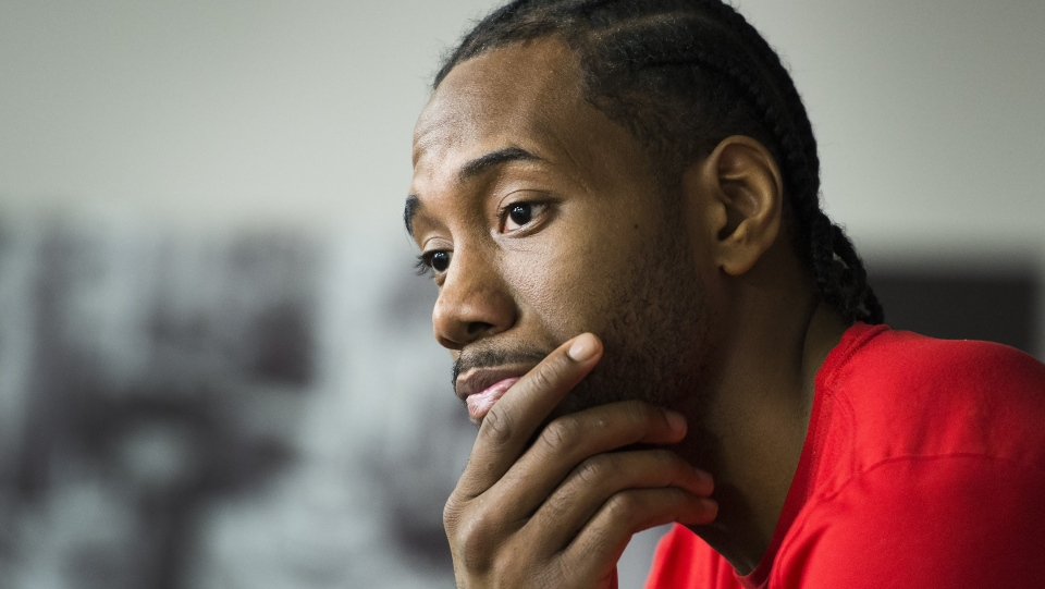 Toronto Raptors forward Kawhi Leonard speaks to the media after practice ahead of the Eastern Conference NBA playoff basketball finals against the Milwaukee Bucks in Toronto on Tuesday, May 14, 2019. THE CANADIAN PRESS/Nathan Denette