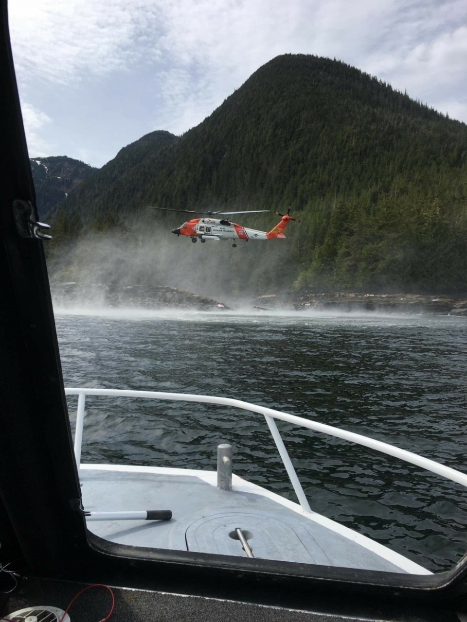 A photo from the U.S. Coast Guard shows the site of a float plane crash on Monday, May 13, 2019.