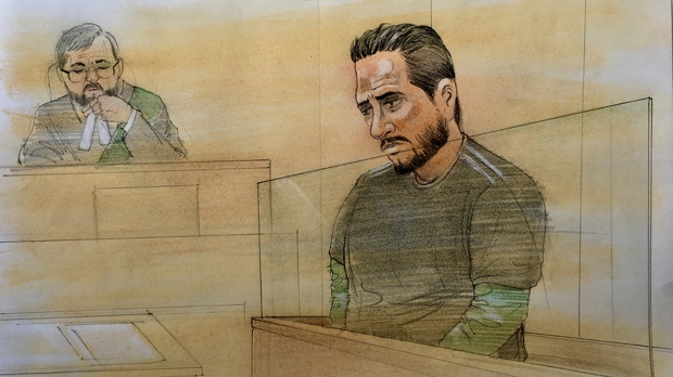 Jonathan Leon is shown in a Brampton courtroom on May 14, 2019. (John Mantha)