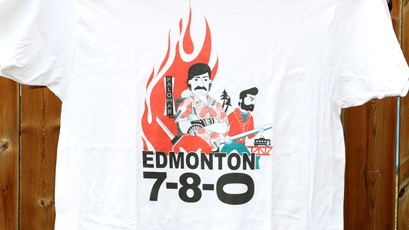 "Jason Blower calls this shirt the ""Edmonton 780, like Hawaii Five-O."""