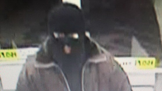 A still image from a security camera shows the suspect of a weekend robbery in Selkirk.