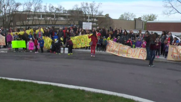 Protesters rallied outside Gerald McShane elementary school on Wednesday May 15, 2019
