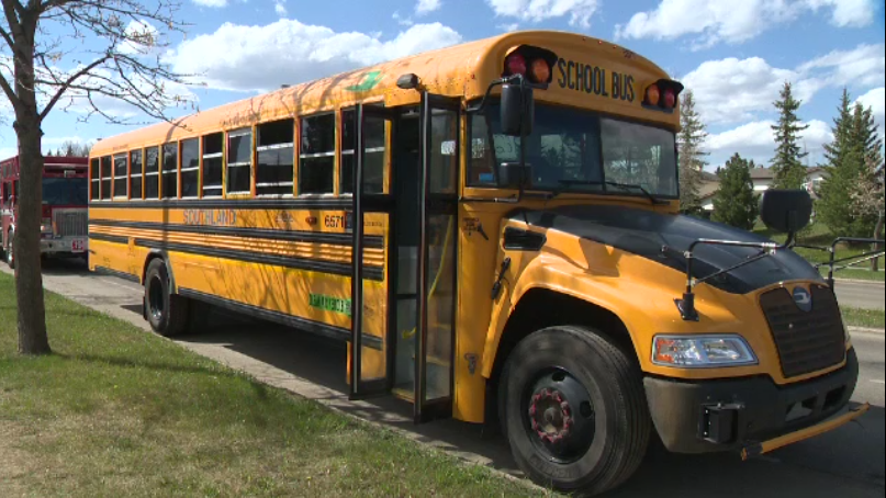 The bus was parked on a street in Edmonton's southwest when it was pepper sprayed on Monday afternoon.