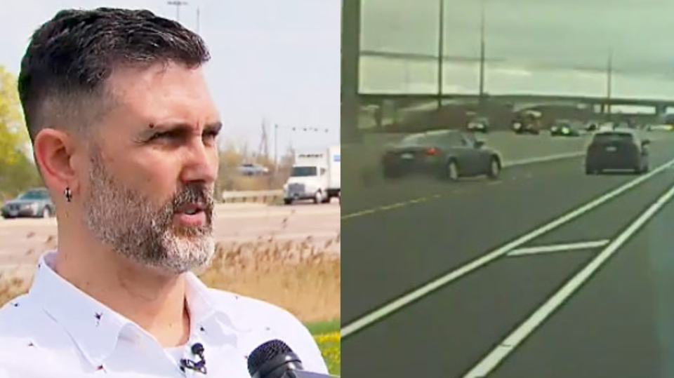 Chris Maxwell tells CTV News Toronto about the harrowing hit-and-run he was involved in on Highway 410 that was caught on dashboard camera.