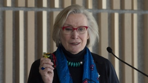 In this file image, Crown-Indigenous relations Minister Carolyn Bennett speaks during an Indian Day school litigation announcement in Ottawa, Tuesday, March 12, 2019. THE CANADIAN PRESS/Adrian Wyld