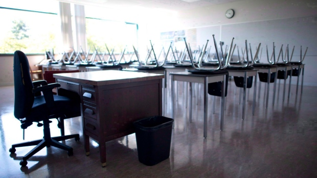 A empty teachers desk is pictured at the front of a empty classroom at Mcgee Secondary school in Vancouver on Sept. 5, 2014. (Jonathan Hayward/The Canadian Press)