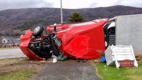 Les Suetes winds knocked over this transport truck near Saint Joseph du Moine in Cape Breton's Inverness County. (COURTESY BERNICE LEBLANC-AUCOIN)