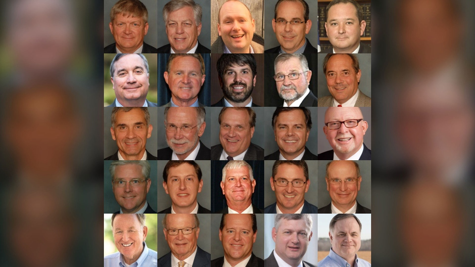 This composite image shows the Alabama lawmakers who voted to outlaw almost all abortions in the state.