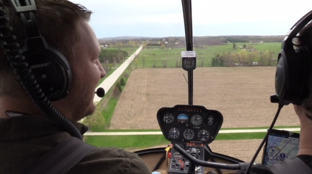 A helicopter surveys locations relevant to the search for Lisa Maas near Owen Sound, Ont. on Wednesday, May 15, 2019. (Scott Miller / CTV London)