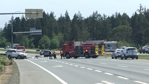 Northbound traffic is being re-routed through the southbound lanes and delays are to be expected. (CTV Vancouver Island)