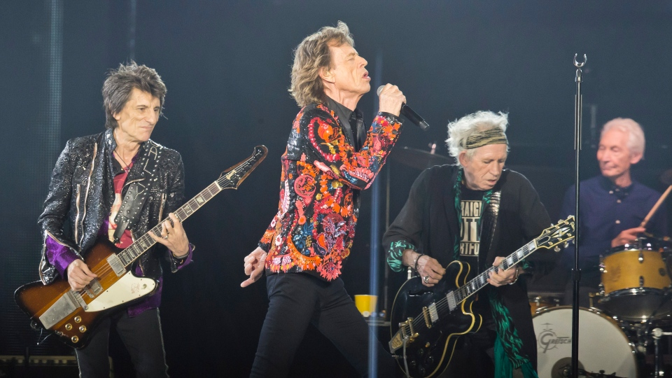 In this Oct. 22, 2017, file photo from left, Ronnie Wood, Mick Jagger, Keith Richards and Charlie Watts of the Rolling Stones perform during the concert of their