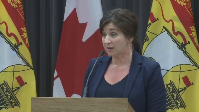 New Brunswick Justice Minister Andrea Anderson speaks at a news conference on May 16, 2019.