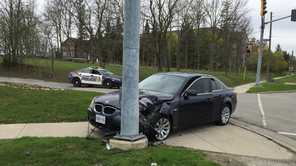 A vehicle that crashed into a light pole