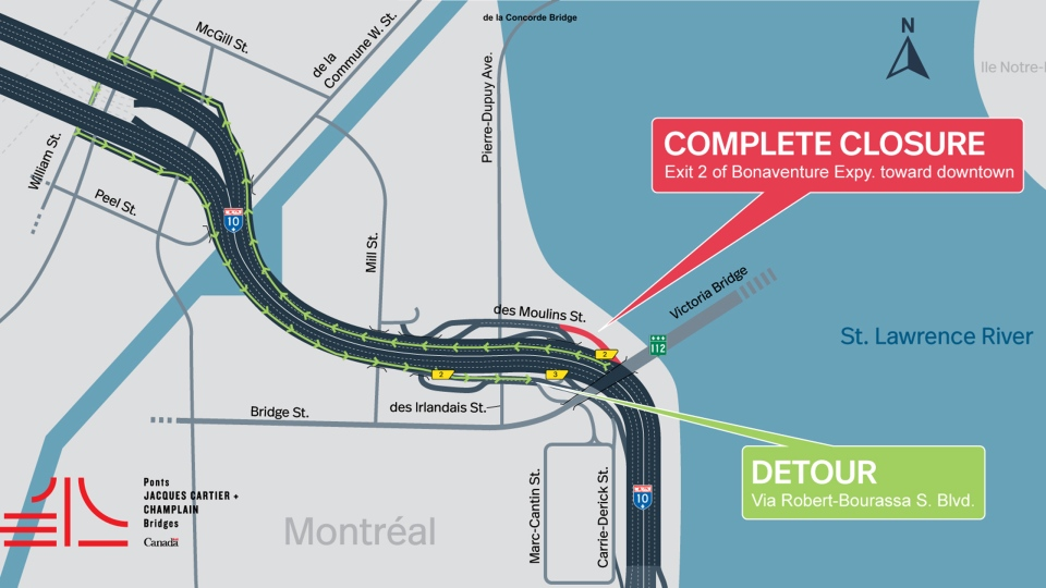 One exit and multiple lanes on the inbound Bonaventure are closed during the May long weekend