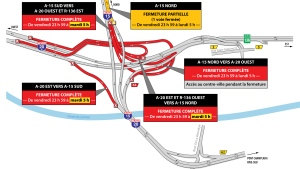 Parts of the Turcot Interchange will close Friday at midnight and reopen Tuesday morning