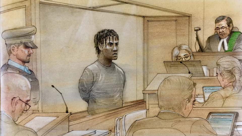 Andrae Douse appears in a Toronto courtroom on May 16, 2019. (Sketch by John Mantha)
